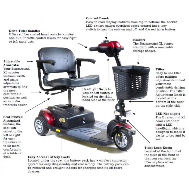 Golden Technologies Buzzaround Xl 3 Wheel Scooter