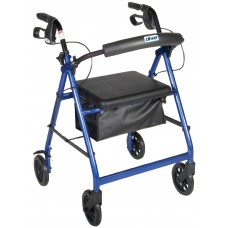 Drive Medical Go Lite Rollator Walker with Fold Up and Removable Back Support and Padded Seat