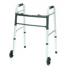 ProBasics Deluxe 2 Button Folding Walker with Wheels Installed (Gray)