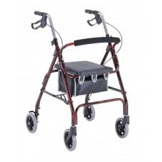 "Merits Health 4-Wheeled Aluminum Low-Seat, Loop Brake, 6"" wheel Rollator"
